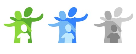 A pictogram with a family in three coloured variants Stock Photo