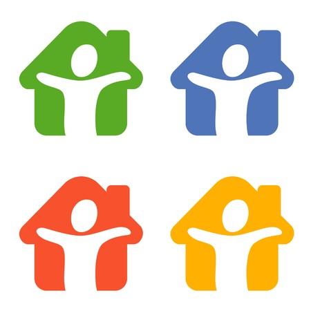 logo batiment: Une image stylisée d'une personne dans un chalet avec des couleurs différentes Banque d'images