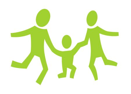 A pictogram with a happy jumping family photo