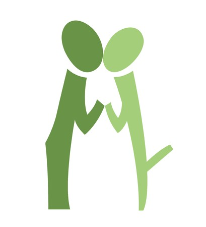A pictogram of a kissing couple