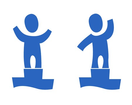A set of two pictograms with a champion