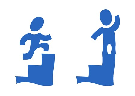 A set of two pictograms showing a man on the steps Stock Photo