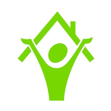 logo batiment: Un homme de stilyzed pr�s de maison
