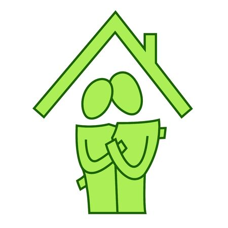 A pictographic image of a couple in a new house Stock Photo - 7920432