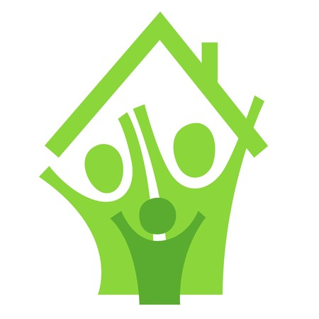 A pictographic image of a family in a new house Stock Photo