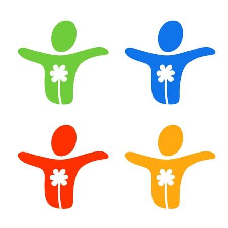 saludable logo: Una imagen estilizada de una persona libre y feliz