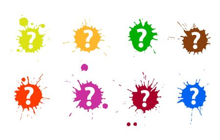 A set of question marks in grungy blobs