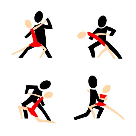 tangoing: A set of four pictograms with tangoing couples