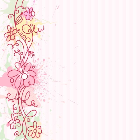 floral abstract: A square background with vertical decorative border