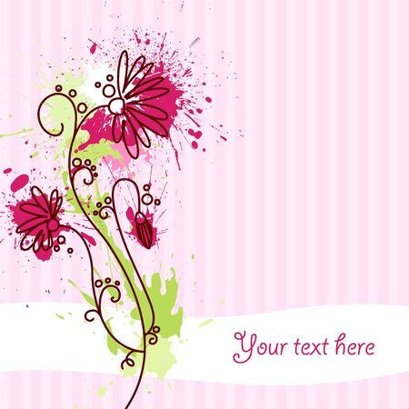 A greeting card with flower and grungy blots Stock Photo - 7927084