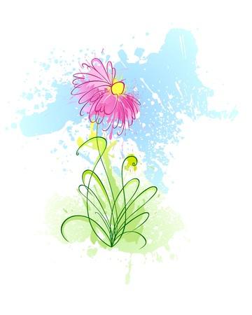 lineas verticales: Un paisaje estilizado con flor de borrones grungy  Foto de archivo