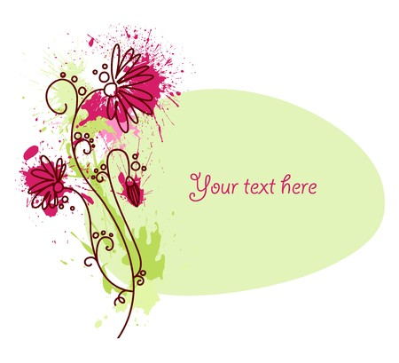 A text vignette with a drawn flower and grungy blots