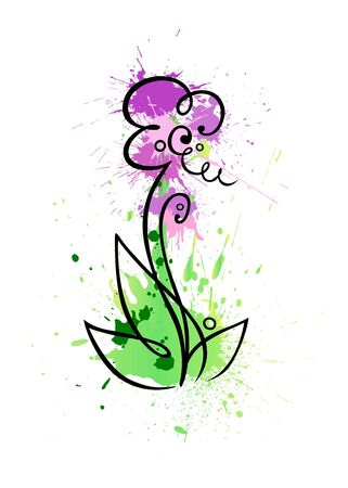 A stylized flower of grungy coloured blobs