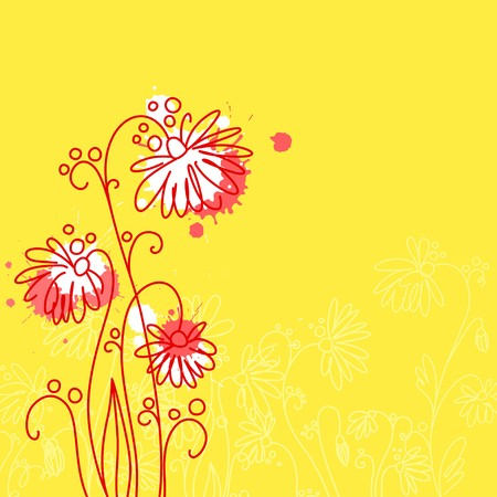 A square background with flowers Stock Photo