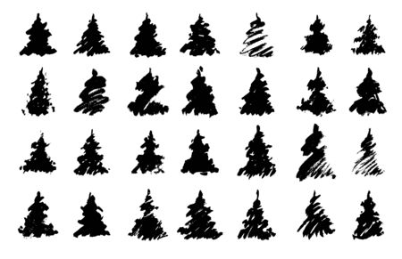 Traced silhouettes of drawn christmas trees