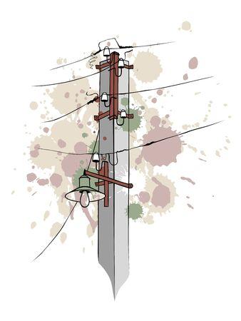 cables electricos: Un pilar grungy con cables el�ctricos