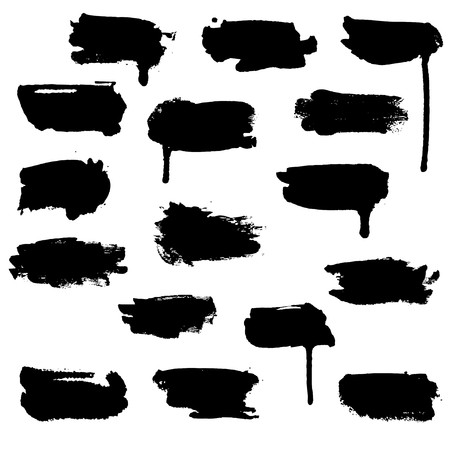 silhuette: A set of horizontal brush water-colour blots