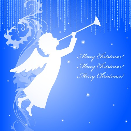 A square christmas card with an angel silhouette photo