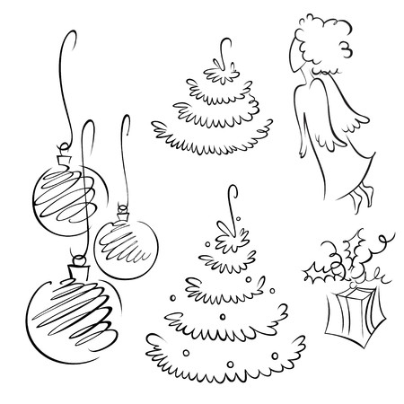 A set of contour design elements for christmas photo