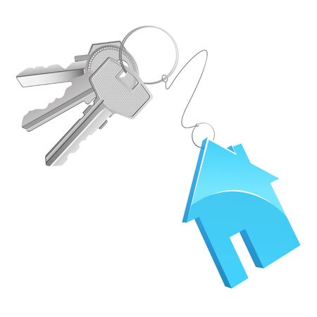 A key bunch with a cottage shaped trinket Stock Photo