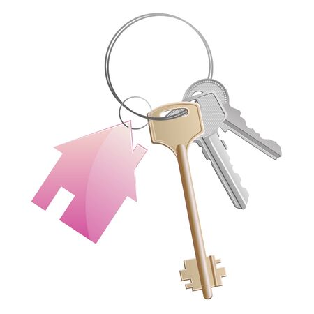 house keys: a key ring with a pink cottage