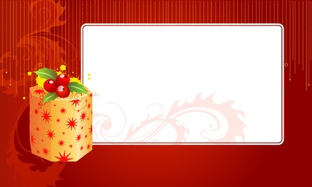 a christmas text blank with a gift box  and an ornament Stock Photo - 8210113