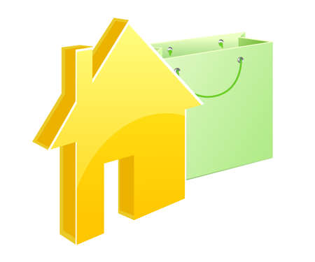 A model of a cottage near a shopping bag Stock Photo - 8210103