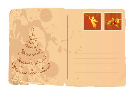 A vintage christmas card with a new year tree and stamps