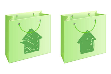 A set of two shopping bags with watercolored houses Stock Photo - 8281973