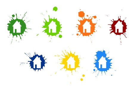 Colourful blots with house image