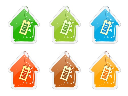 dwell: A group of cottages with price-lists Stock Photo
