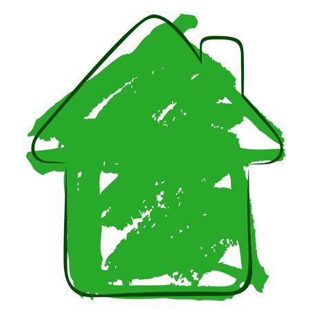 dwell: A metaphorical watercoloured ecologocal house Stock Photo