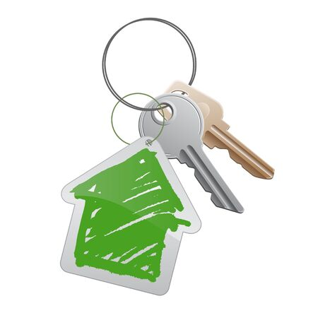 A group of keys with a cottege trinket Stock Photo