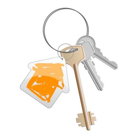 dwell: A bunch of keys with orange house-shaped trinket Stock Photo