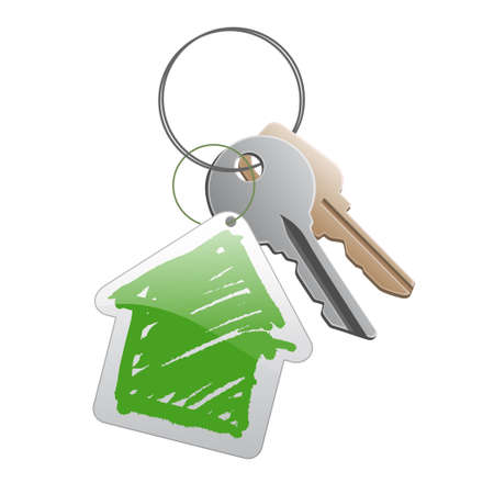 dwell: A group of keys with a cottege trinket Stock Photo