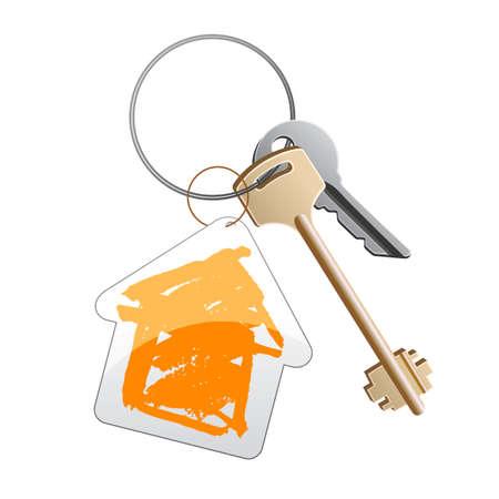 dwell: a group of keys witn orange trinket Stock Photo