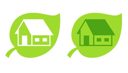 A logo for ecological house with leaf Stock Photo - 8281928
