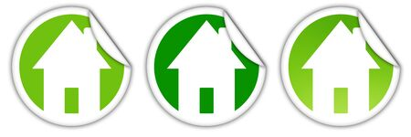 Three stickers with green houses for real estate Stock Photo - 8281939