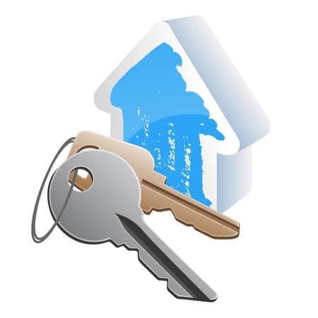 dwell: keys with blue house model