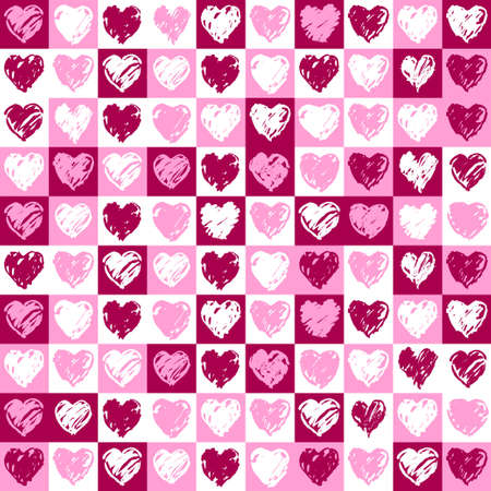 A square background with hearts pattern in pink and vinous colours photo