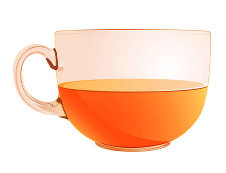 facer: A transparent glass cup with tea isolated Stock Photo