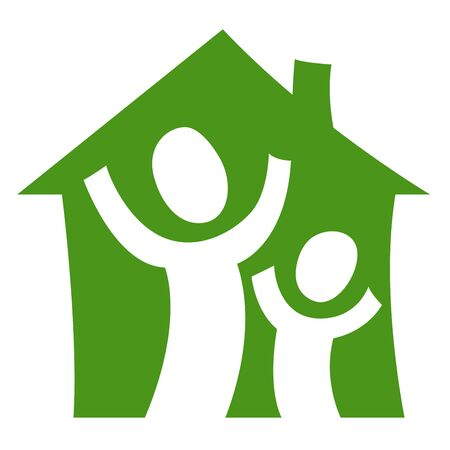 dwell: A pictogram showing a child with an adult being glad in their own house