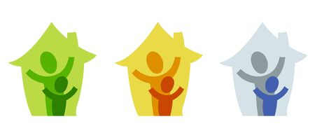 A pictogram with a grown-up and a child in their own house photo