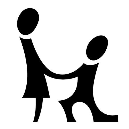 A pictogram with a man making proposal to a woman