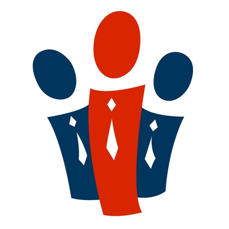 A pictogram with a group of people and a leader
