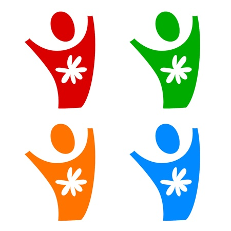 A pictogram of a person with a flower