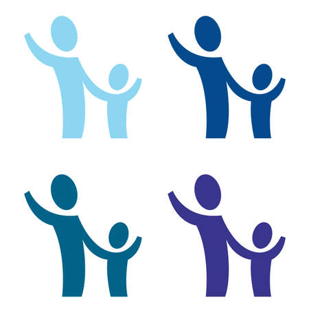 A pictogram with an adult and a child photo