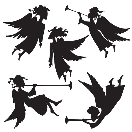 A set of christmas angel silhouettes Vector