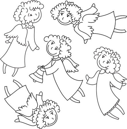 A set of angel figures outline