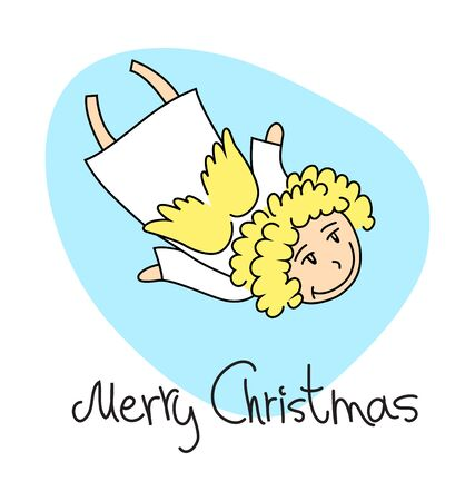 A square christmas card with a cartoon angel Vector